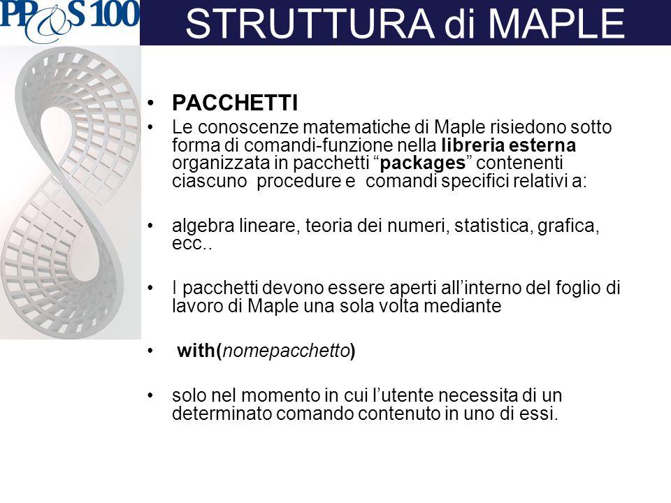 Importanza di questa struttura: Maple usa esclusivamente lo spazio di memoria strettamente necessario!!!