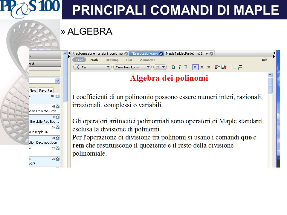 PRINCIPALI COMANDI DI MAPLE »ALGEBRA