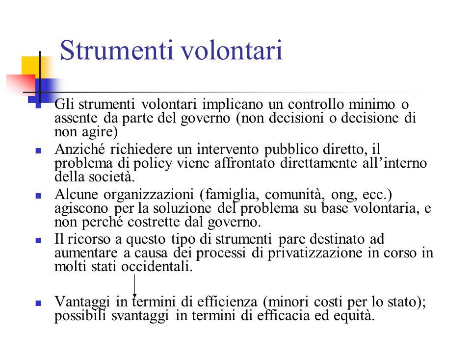 Strumenti volontari Gli strumenti volontari implicano un controllo minimo o assente da parte del governo (non decisioni o decisione di non agire) Anzi