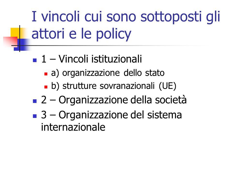 I vincoli cui sono sottoposti gli attori e le policy 1 – Vincoli istituzionali a) organizzazione dello stato b) strutture sovranazionali (UE) 2 – Orga