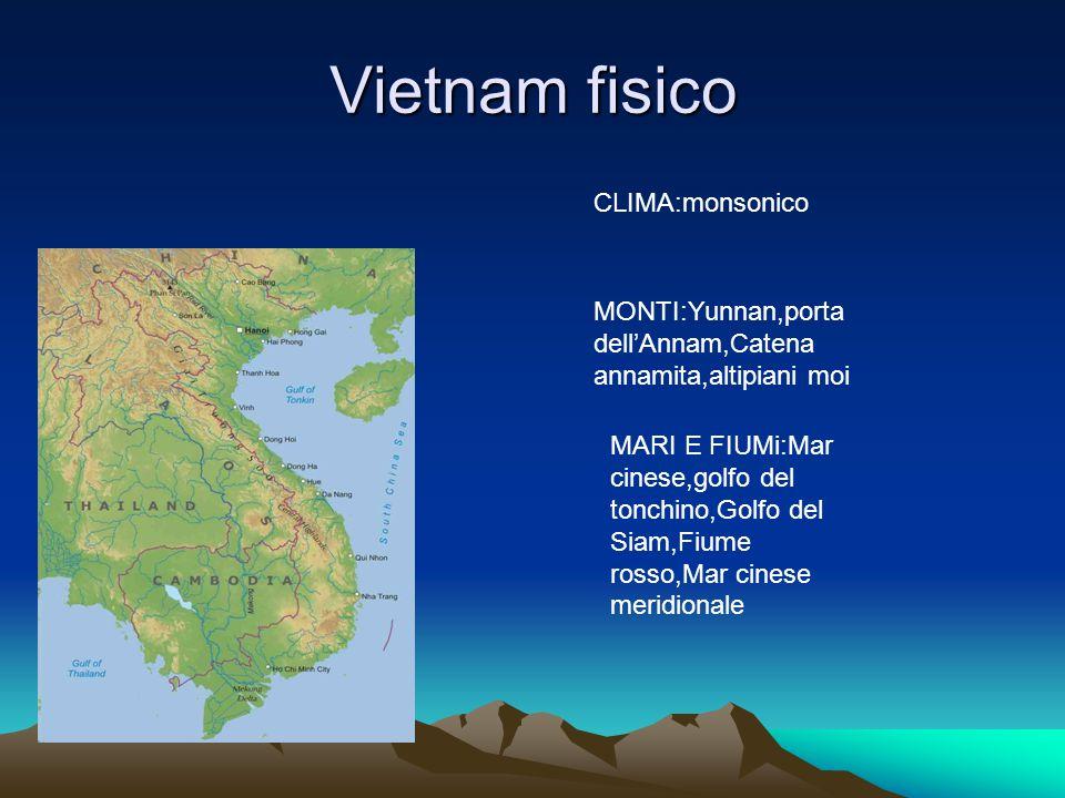 Vietnam fisico MONTI:Yunnan,porta dell'Annam,Catena annamita,altipiani moi MARI E FIUMi:Mar cinese,golfo del tonchino,Golfo del Siam,Fiume rosso,Mar cinese meridionale CLIMA:monsonico