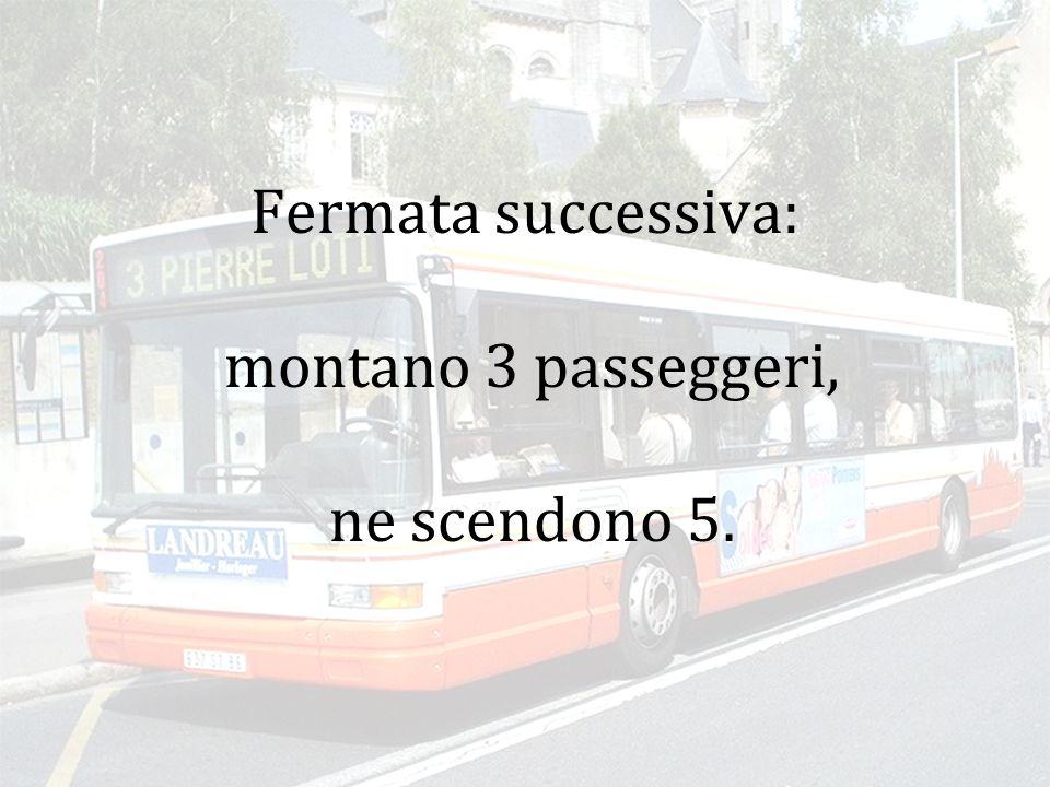 Fermata successiva: montano 3 passeggeri, ne scendono 2.