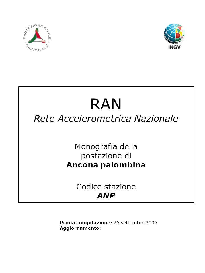 RAN Rete Accelerometrica Nazionale Monografia della postazione di Ancona palombina Codice stazione ANP Prima compilazione: 26 settembre 2006 Aggiornamento: