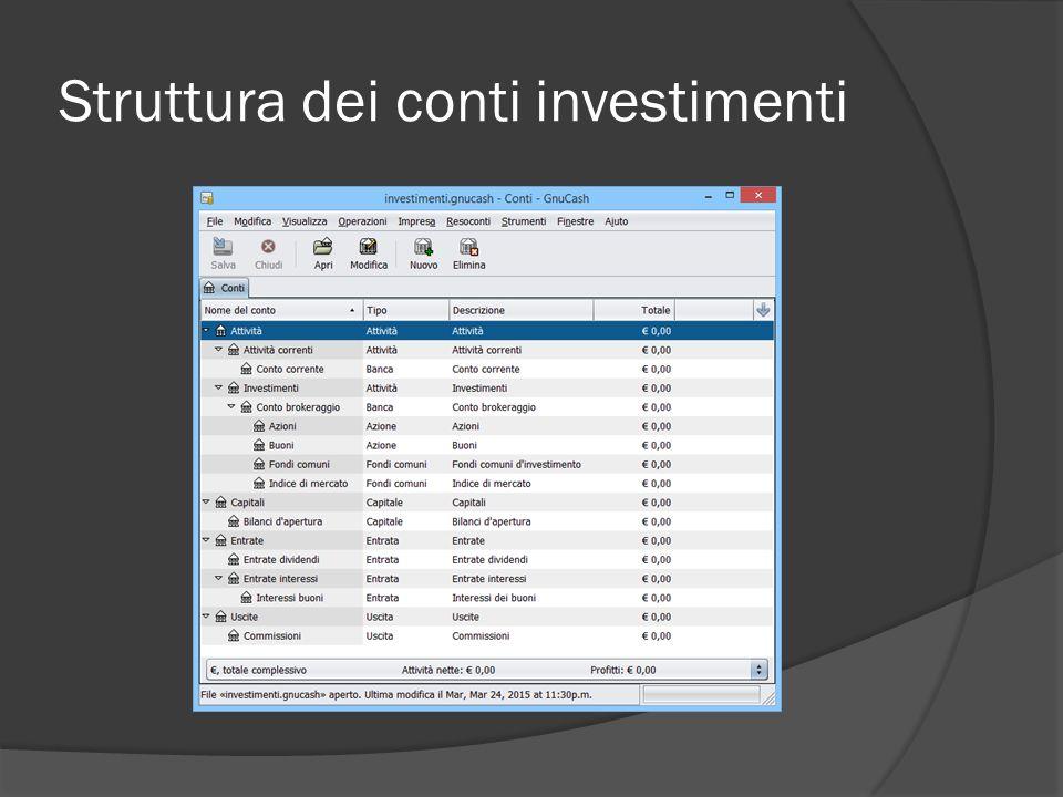Struttura dei conti investimenti