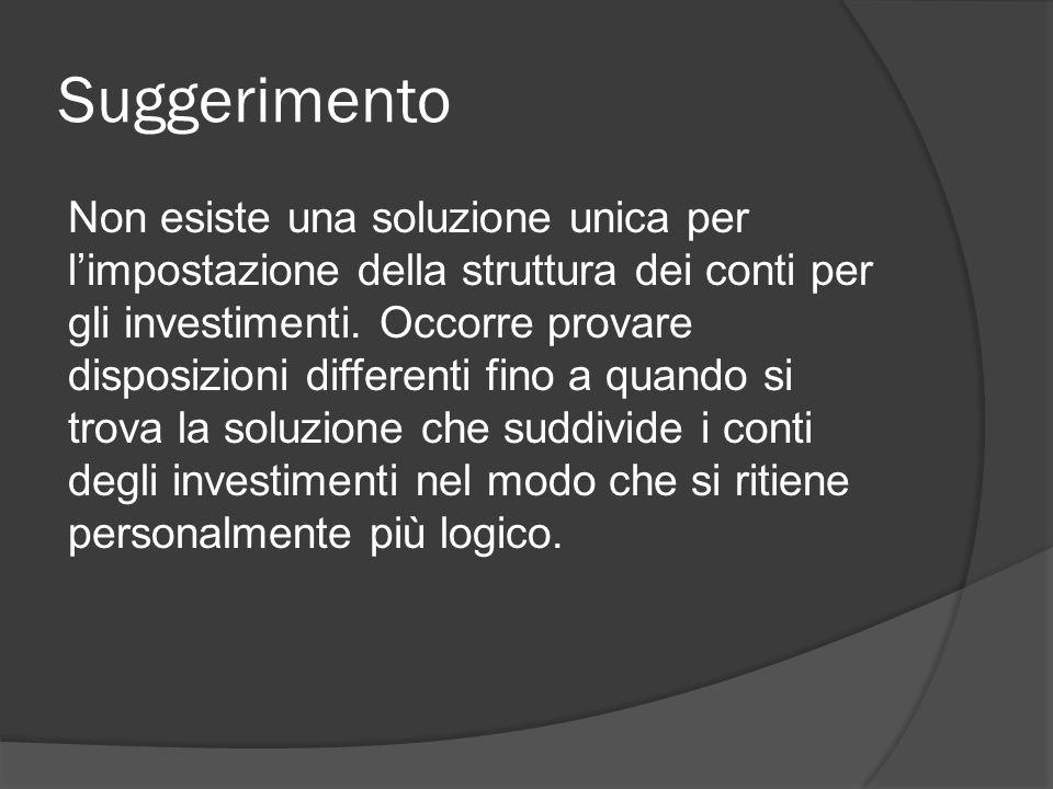 Suggerimento Non esiste una soluzione unica per l'impostazione della struttura dei conti per gli investimenti.