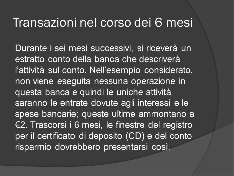 Transazioni nel corso dei 6 mesi Durante i sei mesi successivi, si riceverà un estratto conto della banca che descriverà l'attività sul conto.
