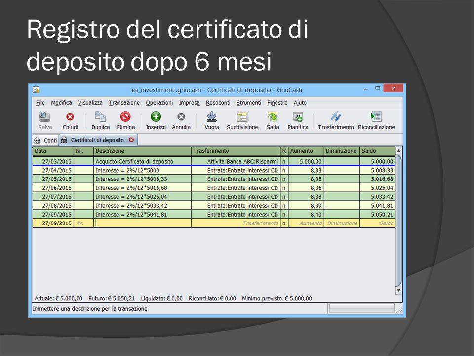 Registro del certificato di deposito dopo 6 mesi