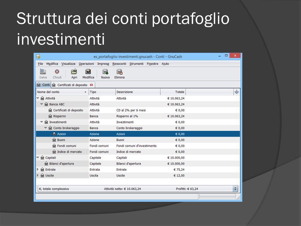 Struttura dei conti portafoglio investimenti