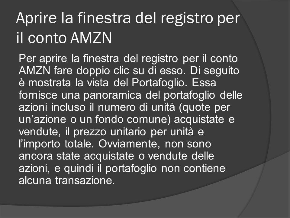 Aprire la finestra del registro per il conto AMZN Per aprire la finestra del registro per il conto AMZN fare doppio clic su di esso.
