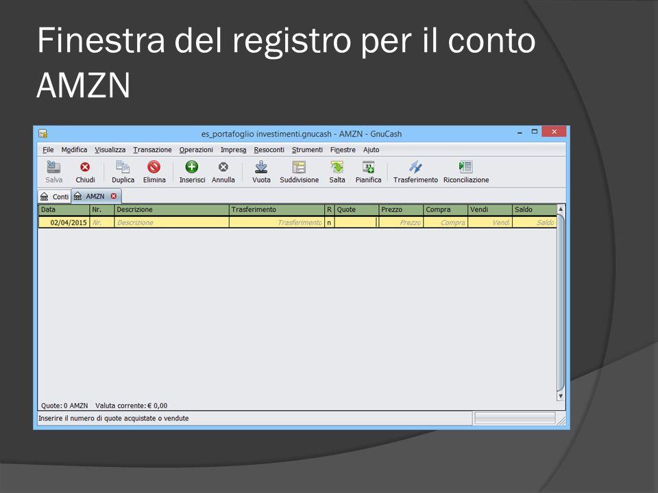 Finestra del registro per il conto AMZN