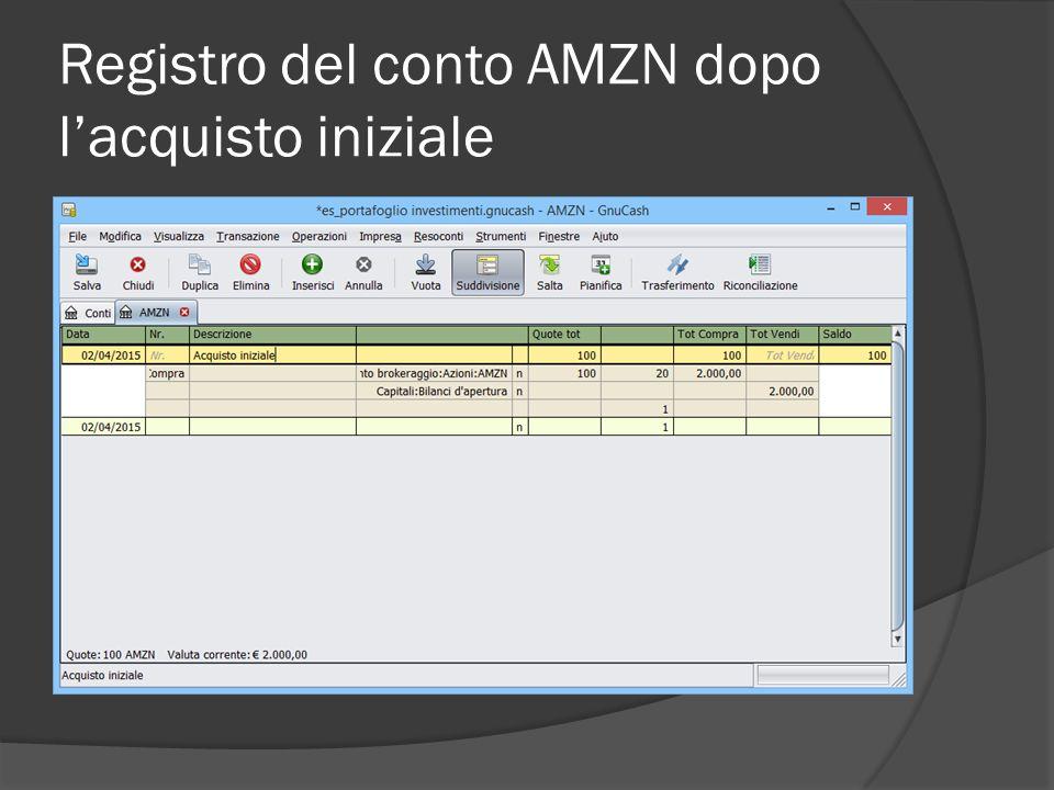 Registro del conto AMZN dopo l'acquisto iniziale