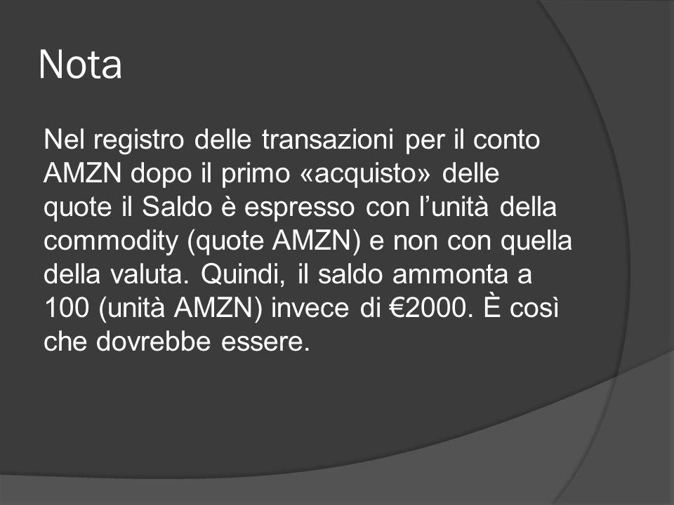 Nota Nel registro delle transazioni per il conto AMZN dopo il primo «acquisto» delle quote il Saldo è espresso con l'unità della commodity (quote AMZN) e non con quella della valuta.