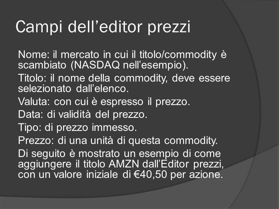 Campi dell'editor prezzi Nome: il mercato in cui il titolo/commodity è scambiato (NASDAQ nell'esempio).