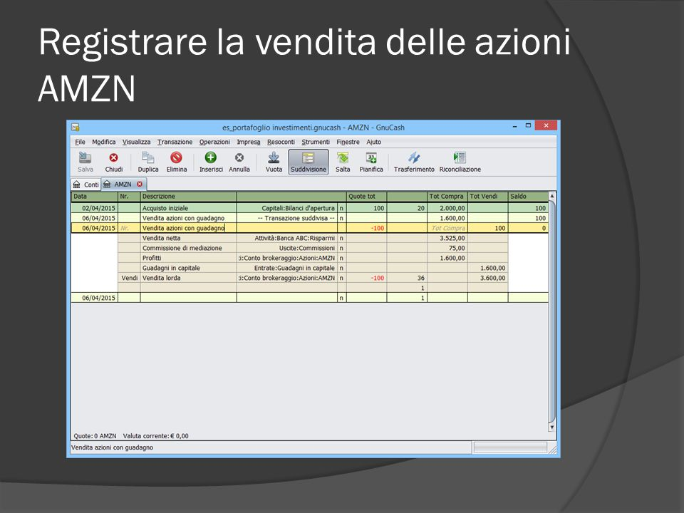 Registrare la vendita delle azioni AMZN