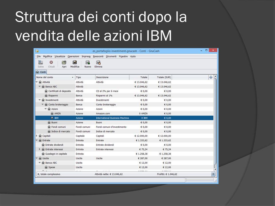 Struttura dei conti dopo la vendita delle azioni IBM