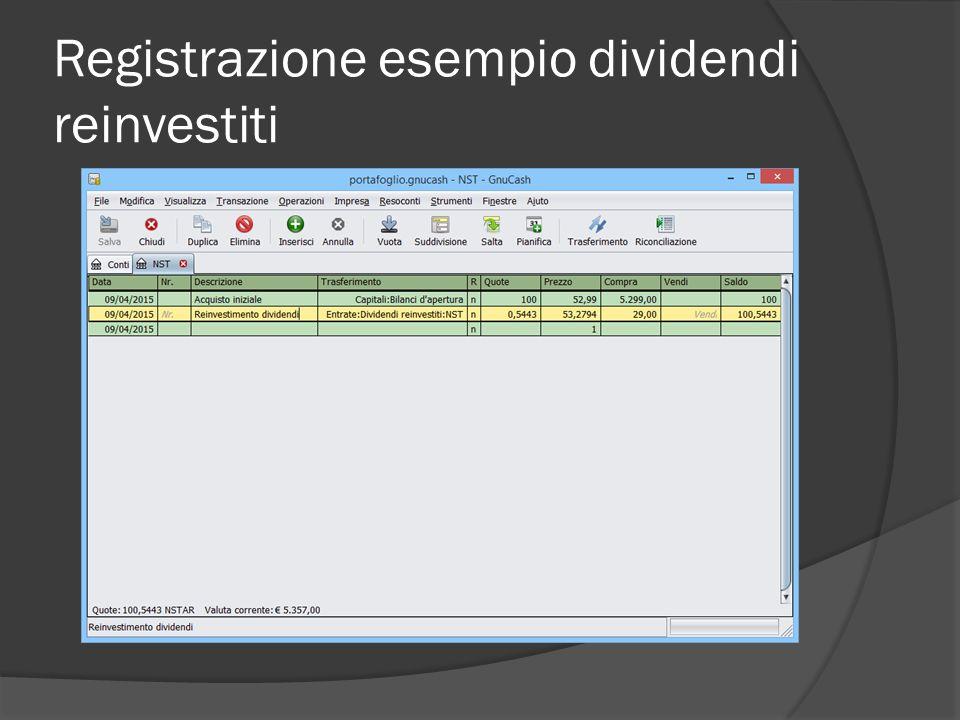 Registrazione esempio dividendi reinvestiti