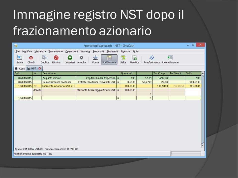Immagine registro NST dopo il frazionamento azionario