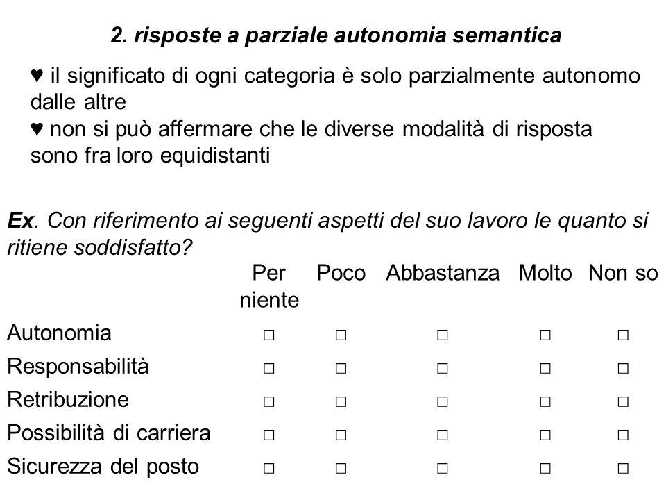 2. risposte a parziale autonomia semantica ♥ il significato di ogni categoria è solo parzialmente autonomo dalle altre ♥ non si può affermare che le d