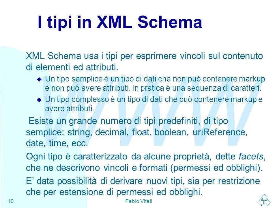 WWW Fabio Vitali10 I tipi in XML Schema XML Schema usa i tipi per esprimere vincoli sul contenuto di elementi ed attributi.