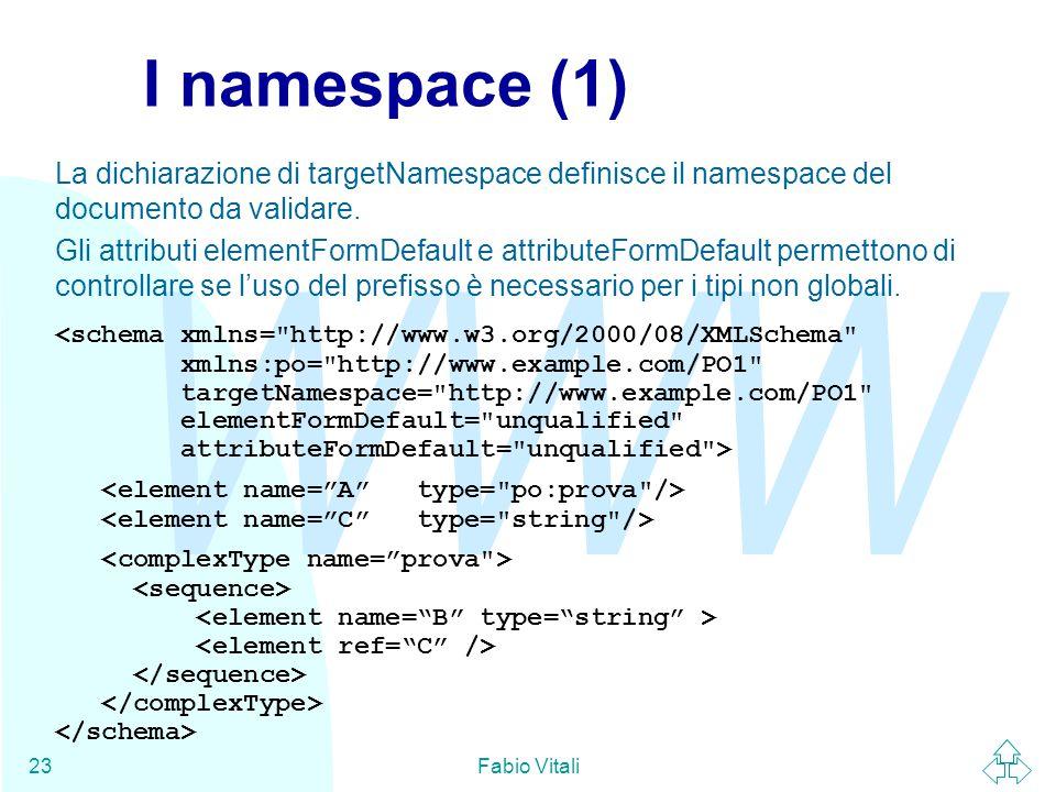 WWW Fabio Vitali23 I namespace (1) La dichiarazione di targetNamespace definisce il namespace del documento da validare.