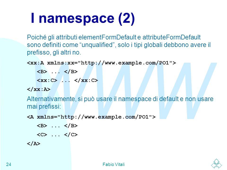 WWW Fabio Vitali24 I namespace (2) Poiché gli attributi elementFormDefault e attributeFormDefault sono definiti come unqualified , solo i tipi globali debbono avere il prefisso, gli altri no....