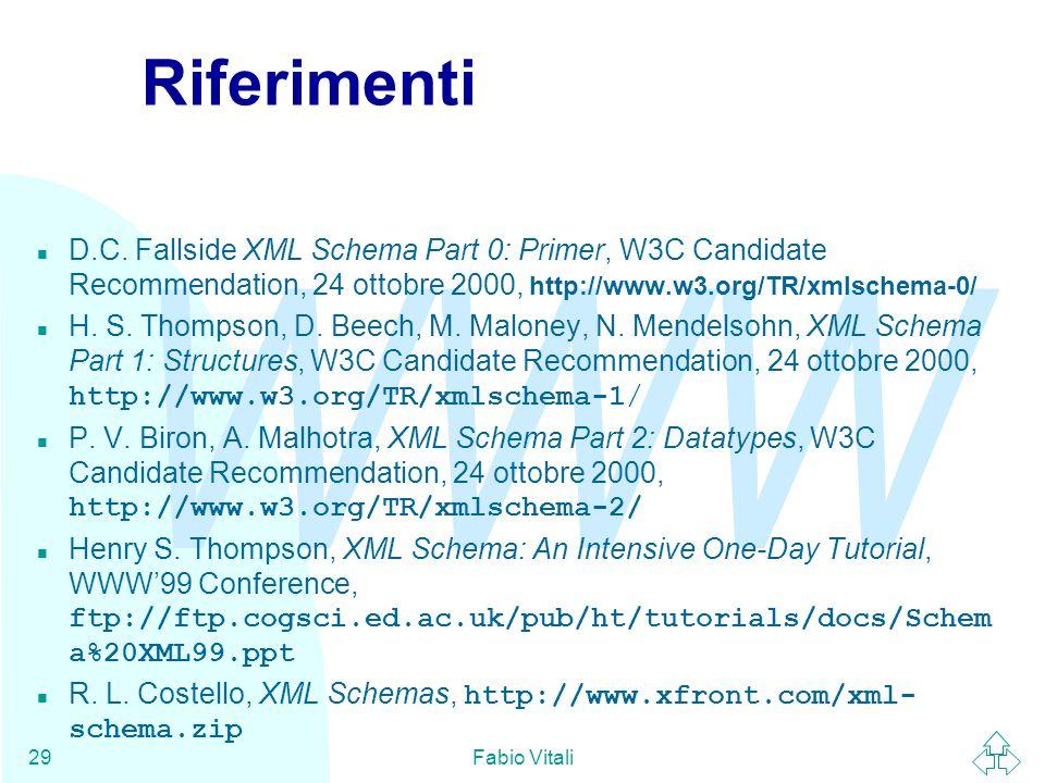WWW Fabio Vitali29 Riferimenti n D.C.