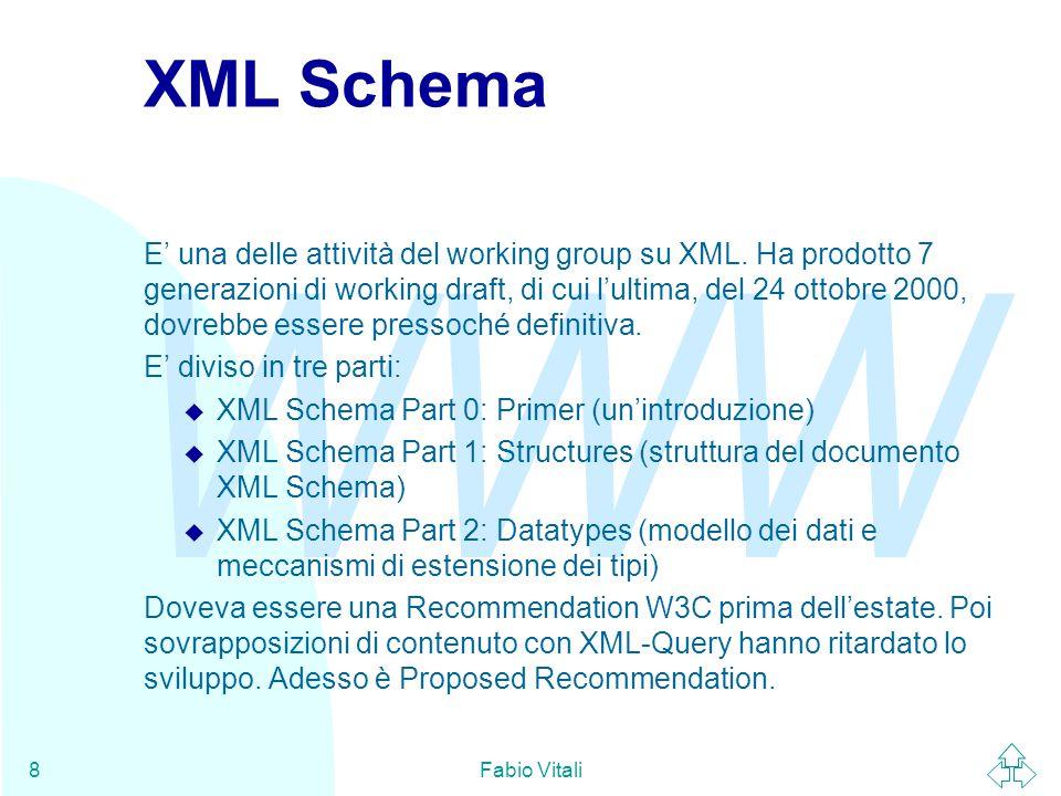 WWW Fabio Vitali8 XML Schema E' una delle attività del working group su XML.