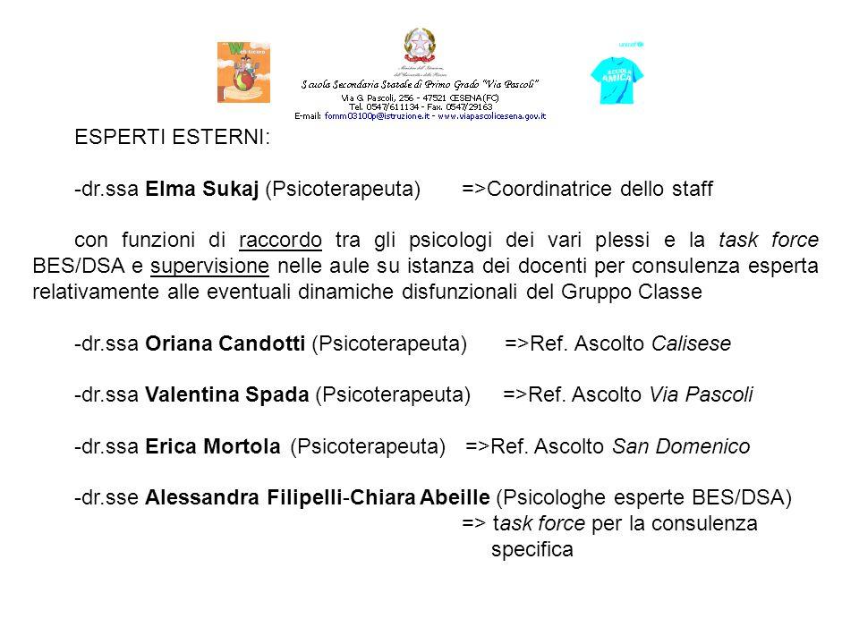 ESPERTO INTERNO: -dr. Bruno Bonandi (Psicologo/Psicoterapeuta in servizio c/o l I.S.