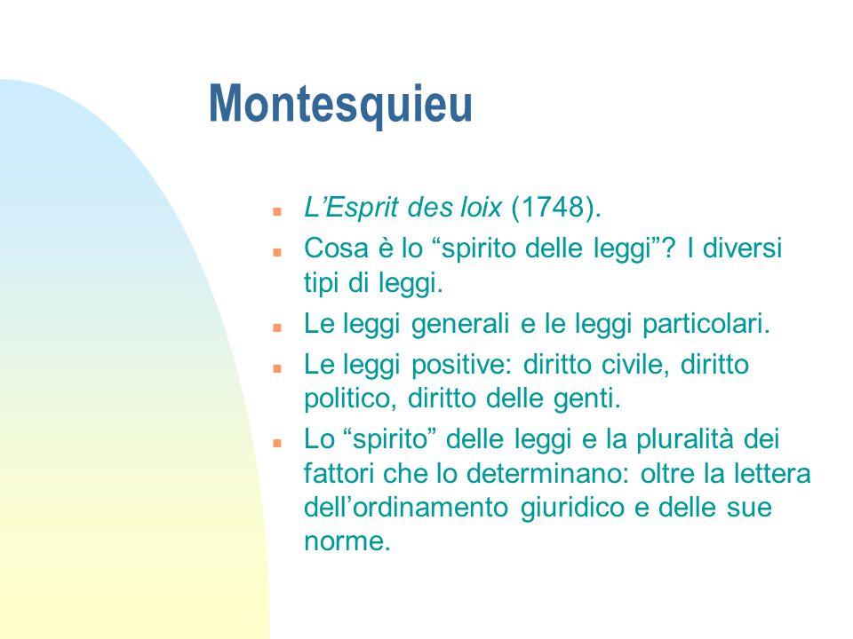 """Montesquieu n L'Esprit des loix (1748). n Cosa è lo """"spirito delle leggi""""? I diversi tipi di leggi. n Le leggi generali e le leggi particolari. n Le l"""