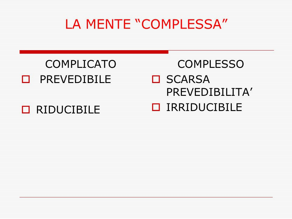 """LA MENTE """"COMPLESSA"""" COMPLICATO  PREVEDIBILE  RIDUCIBILE COMPLESSO  SCARSA PREVEDIBILITA'  IRRIDUCIBILE"""