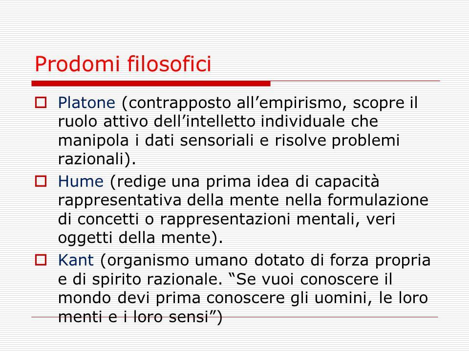 Prodomi psicologici Passaggio graduale dal comportamentismo al cognitivismo:  Hebb: ( funzione mediatrice della mente e esistenza di una mappa cognitiva come prodotto della mente).