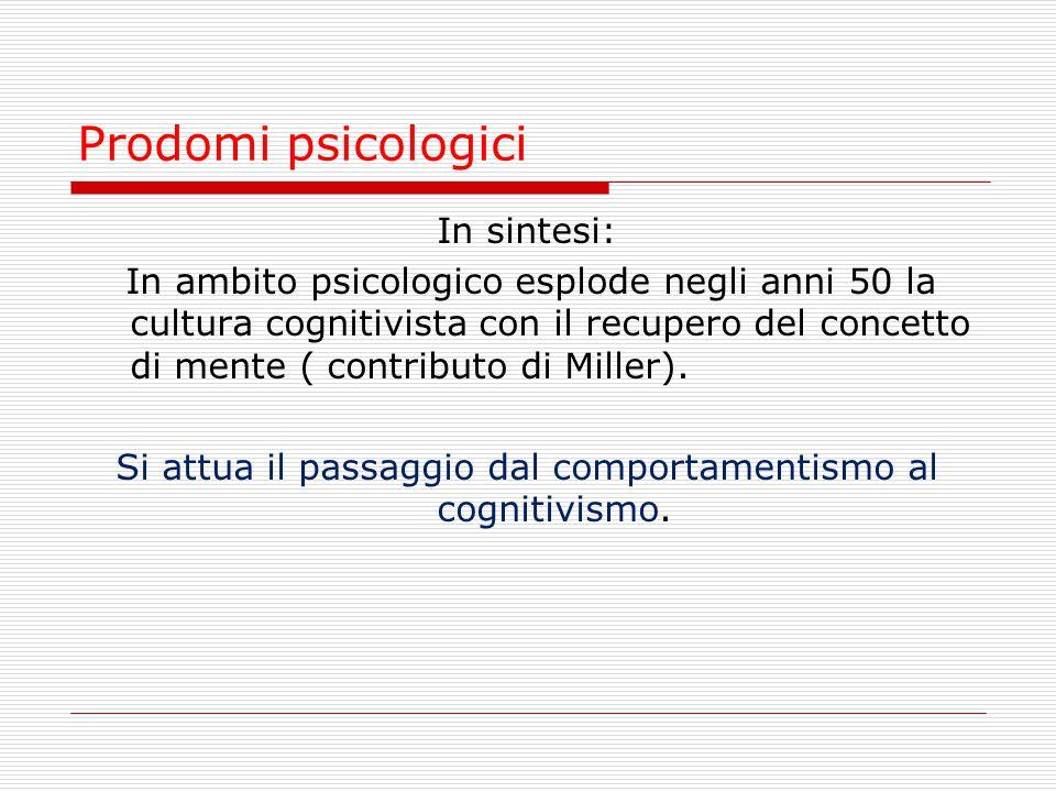 Prodomi psicologici In sintesi: In ambito psicologico esplode negli anni 50 la cultura cognitivista con il recupero del concetto di mente ( contributo
