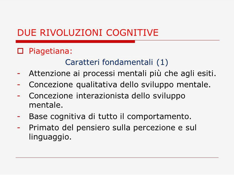 DUE RIVOLUZIONI COGNITIVE  Piagetiana: Caratteri fondamentali (2) -Valorizzazione della rappresentazione mentale (pensiero intuitivo, operatorio, formale).