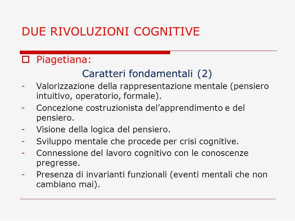 DUE RIVOLUZIONI COGNITIVE  Piagetiana: Caratteri fondamentali (2) -Valorizzazione della rappresentazione mentale (pensiero intuitivo, operatorio, for