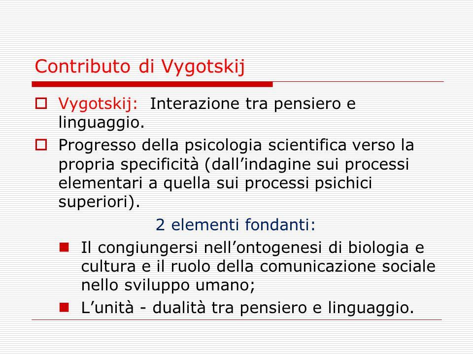 Contributo di Vygotskij  Vygotskij: Interazione tra pensiero e linguaggio.  Progresso della psicologia scientifica verso la propria specificità (dal