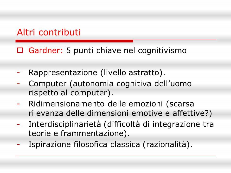 Altri contributi  Gardner: 5 punti chiave nel cognitivismo -Rappresentazione (livello astratto). -Computer (autonomia cognitiva dell'uomo rispetto al