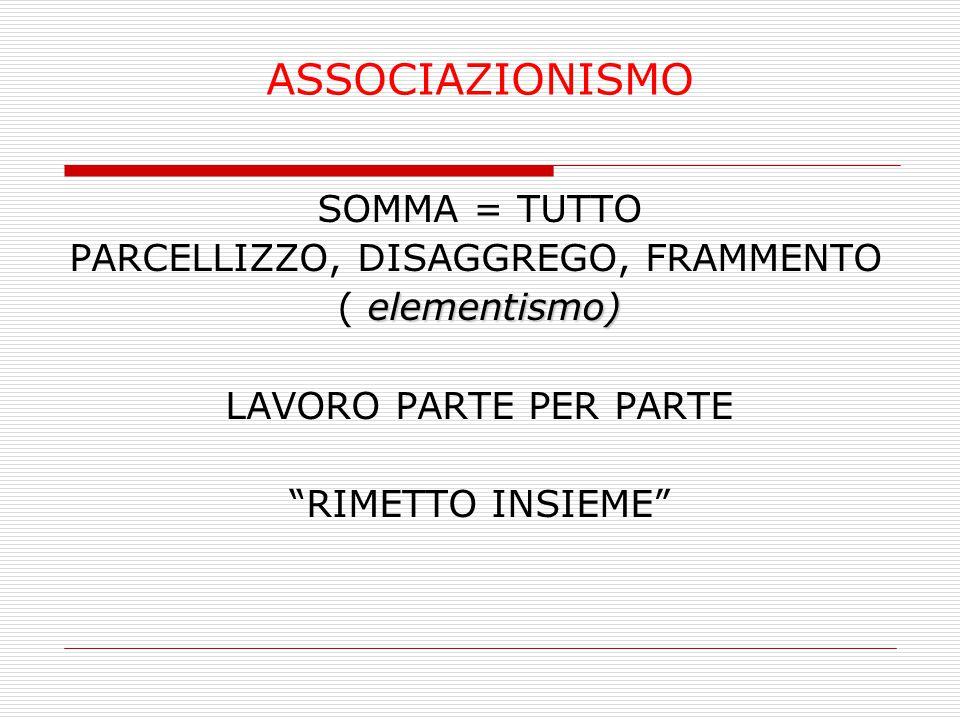 """ASSOCIAZIONISMO SOMMA = TUTTO PARCELLIZZO, DISAGGREGO, FRAMMENTO elementismo) ( elementismo) LAVORO PARTE PER PARTE """"RIMETTO INSIEME"""""""