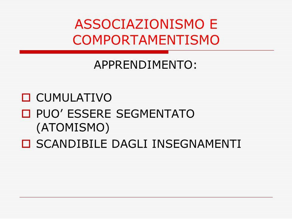 ASSOCIAZIONISMO E COMPORTAMENTISMO APPRENDIMENTO:  CUMULATIVO  PUO' ESSERE SEGMENTATO (ATOMISMO)  SCANDIBILE DAGLI INSEGNAMENTI