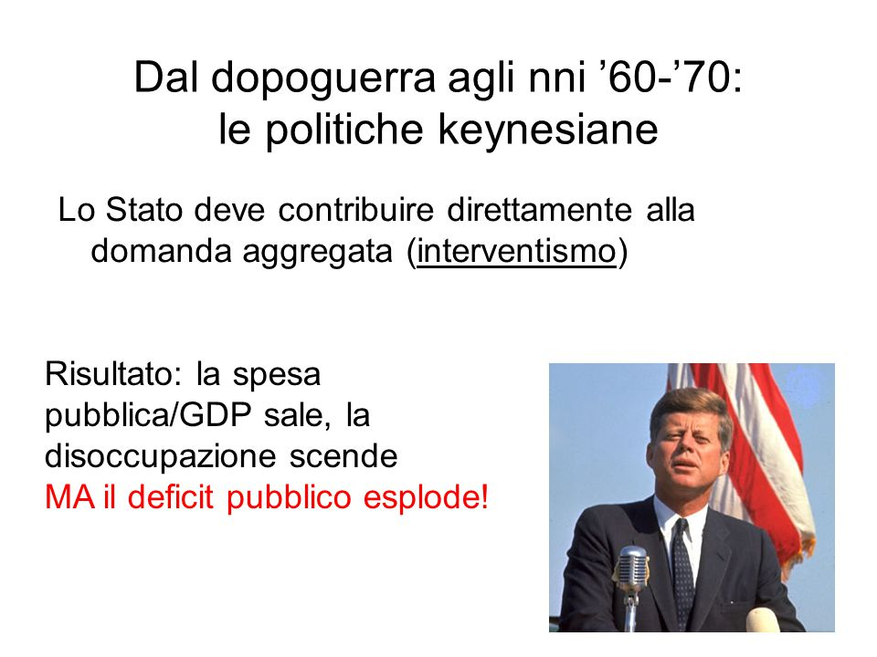 3 Dal dopoguerra agli nni '60-'70: le politiche keynesiane Lo Stato deve contribuire direttamente alla domanda aggregata (interventismo) Risultato: la