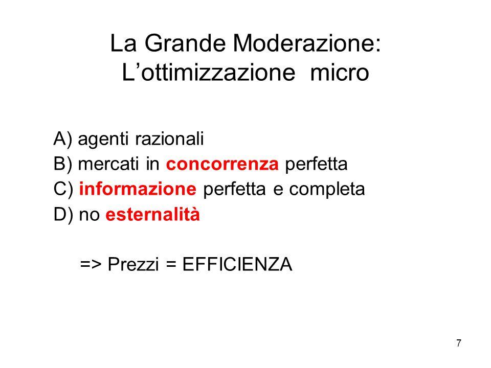 7 La Grande Moderazione: L'ottimizzazione micro A) agenti razionali B) mercati in concorrenza perfetta C) informazione perfetta e completa D) no ester