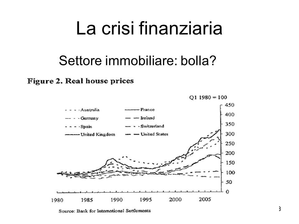 8 La crisi finanziaria Settore immobiliare: bolla?