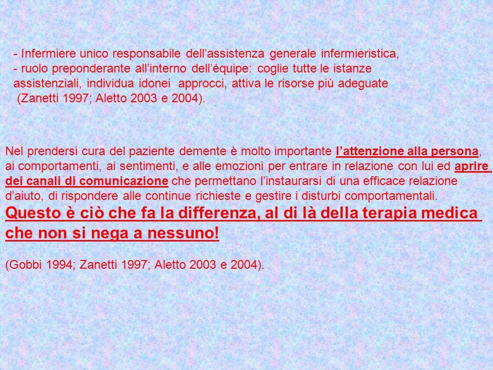 - Infermiere unico responsabile dell'assistenza generale infermieristica, - ruolo preponderante all'interno dell'équipe: coglie tutte le istanze assistenziali, individua idonei approcci, attiva le risorse più adeguate (Zanetti 1997; Aletto 2003 e 2004).