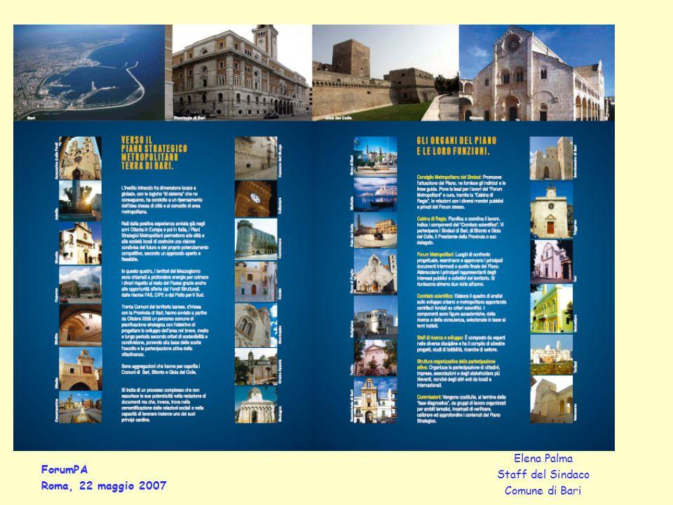 ForumPA Roma, 22 maggio 2007 Elena Palma Staff del Sindaco Comune di Bari