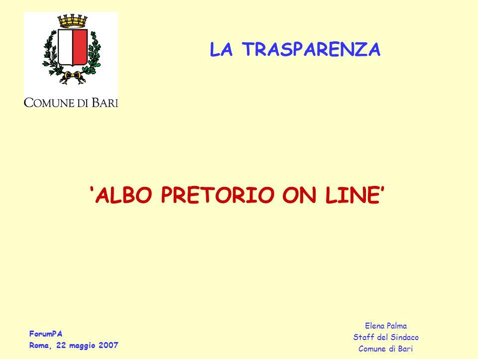 ForumPA Roma, 22 maggio 2007 Elena Palma Staff del Sindaco Comune di Bari 'ALBO PRETORIO ON LINE' LA TRASPARENZA