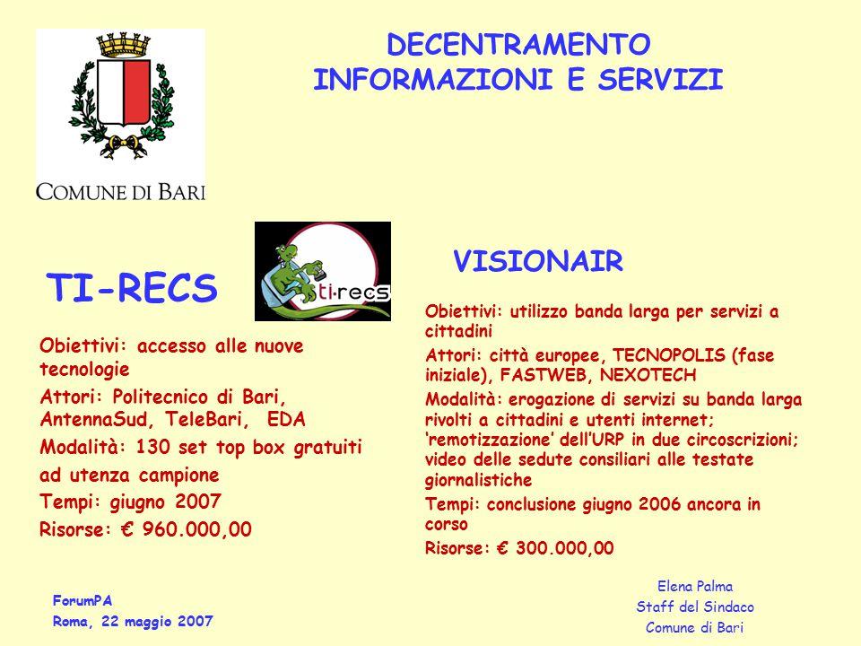 ForumPA Roma, 22 maggio 2007 Elena Palma Staff del Sindaco Comune di Bari DECENTRAMENTO INFORMAZIONI E SERVIZI Obiettivi: accesso alle nuove tecnologi