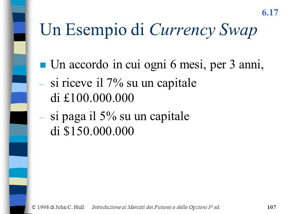 © 1998 di John C. Hull Introduzione ai Mercati dei Futures e delle Opzioni 3 a ed.107 Un Esempio di Currency Swap n Un accordo in cui ogni 6 mesi, per