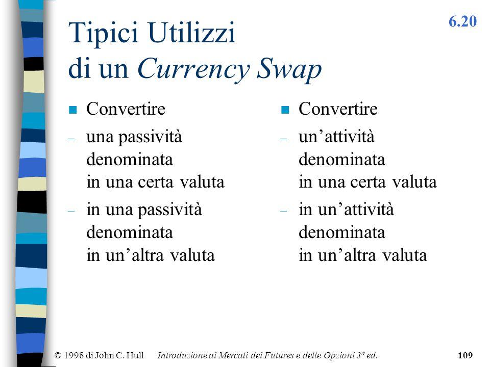 © 1998 di John C. Hull Introduzione ai Mercati dei Futures e delle Opzioni 3 a ed.109 Tipici Utilizzi di un Currency Swap n Convertire – una passività