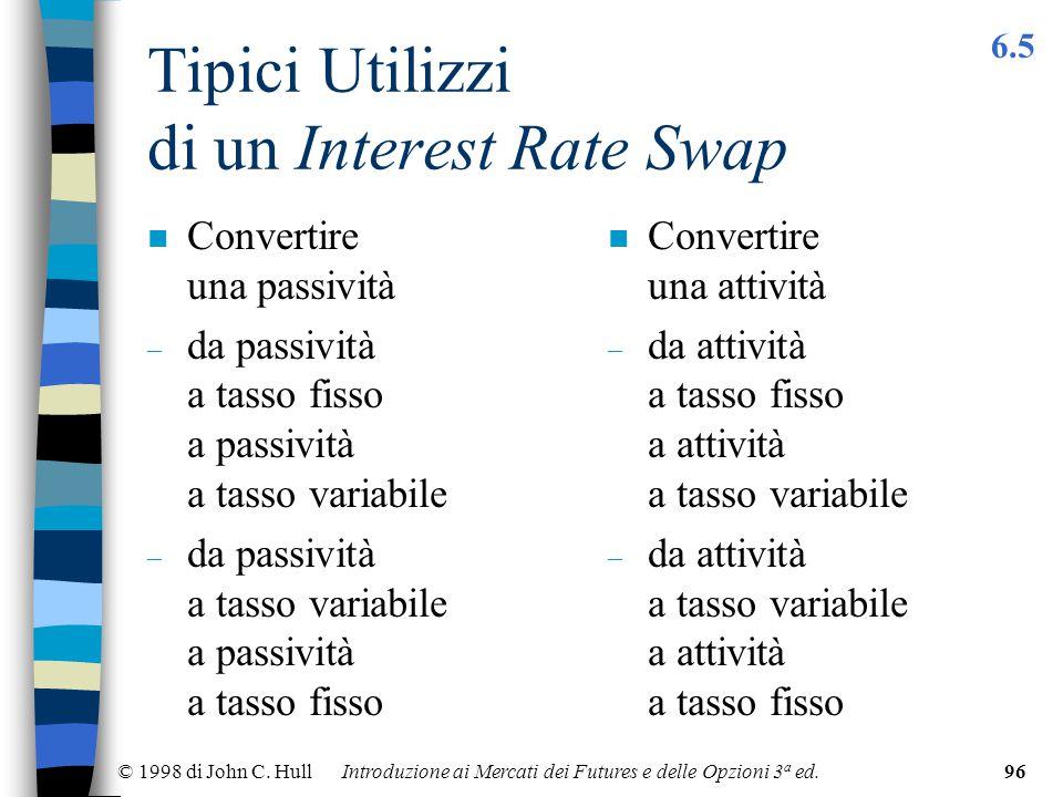 © 1998 di John C. Hull Introduzione ai Mercati dei Futures e delle Opzioni 3 a ed.96 Tipici Utilizzi di un Interest Rate Swap n Convertire una passivi