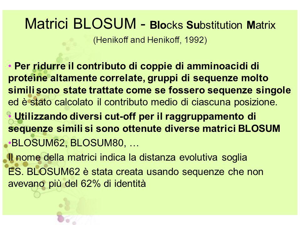 Matrici BLOSUM - Blocks Substitution Matrix (Henikoff and Henikoff, 1992) Matrici di sostituzione derivate dall'analisi di oltre 2000 blocchi di allin