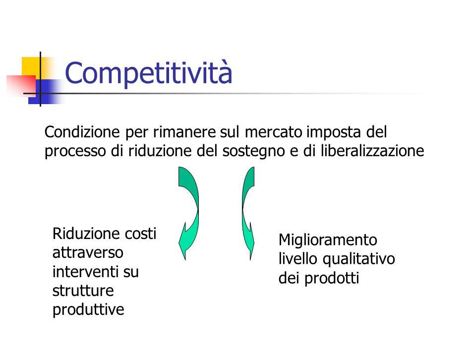 Competitività Condizione per rimanere sul mercato imposta del processo di riduzione del sostegno e di liberalizzazione Riduzione costi attraverso interventi su strutture produttive Miglioramento livello qualitativo dei prodotti